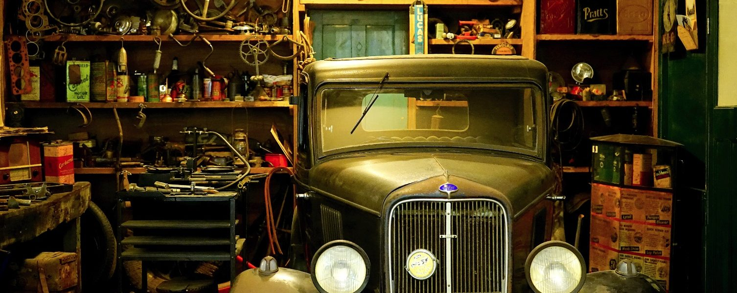 classic car in garage